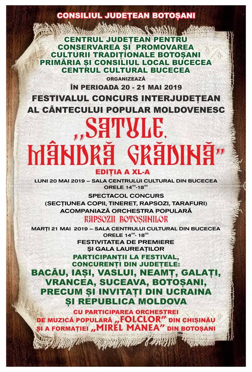 """Regulamentul Festivalului – Concurs al Cântecului Popular Românesc ,,Satule, mândră grădină"""", Ediţia a XL-a, 20-21 mai 2019"""