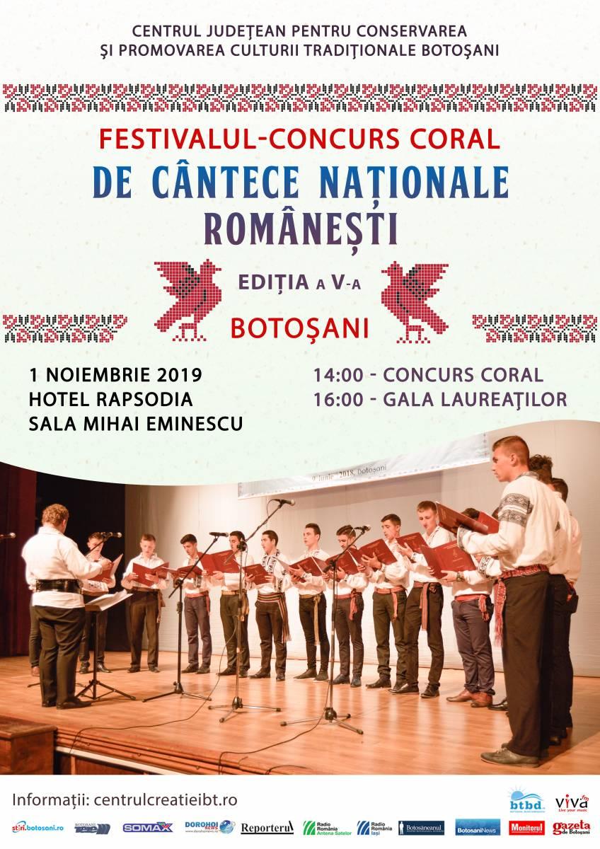 Comunicat de presă – Festivalul – Concurs Coral de Cântece Naţionale Româneşti, Ediţia a V-a, 1 noiembrie 2019