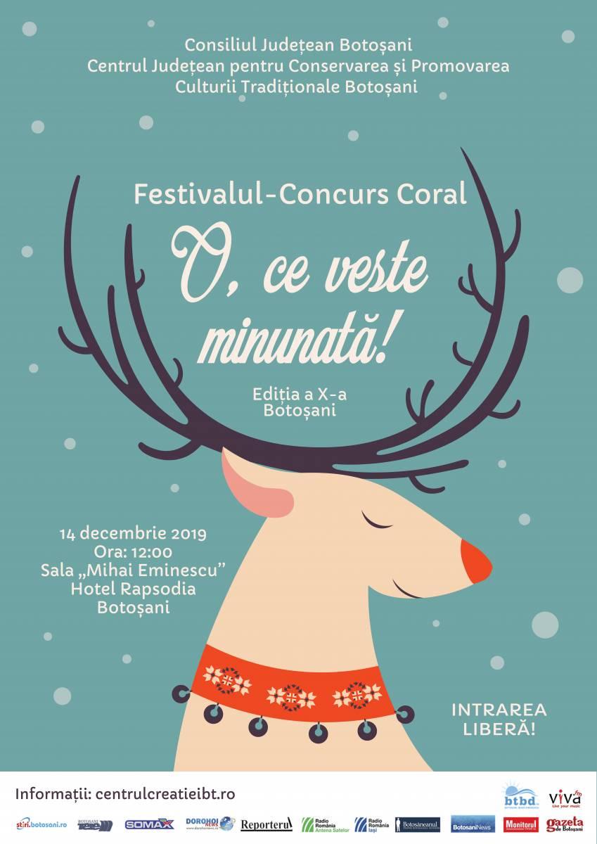 """Ordinea intrării în scenă – Festivalul – Concurs Coral de Colinde ,, O, ce veste minunată! """", Ediţia a X-a, 14 decembrie 2019"""