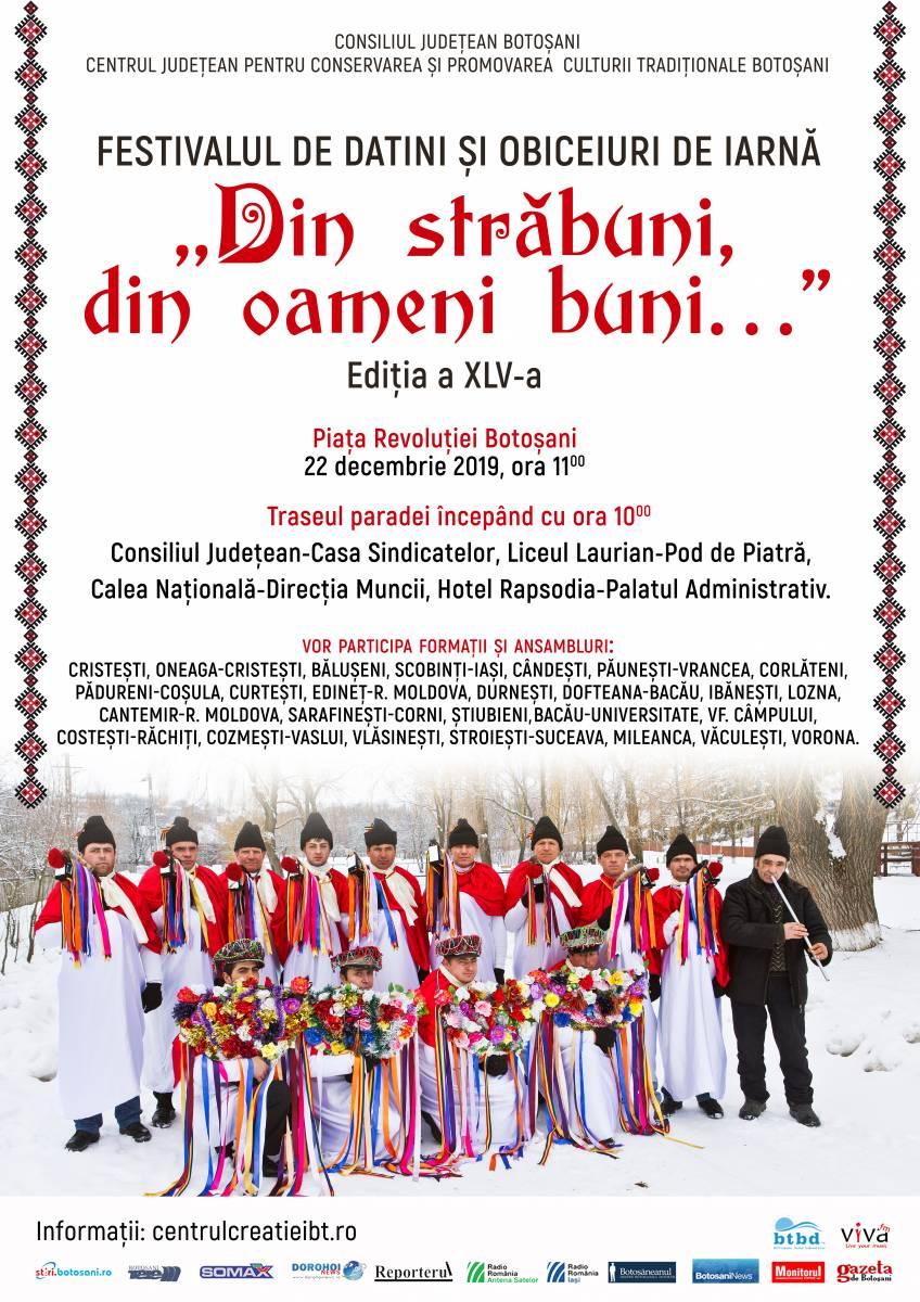 """Festivalul de Datini și Obiceiuri de Iarnă ,,Din străbuni, din oameni buni…"""", Ediția a XLV-a, 22 decembrie 2019"""