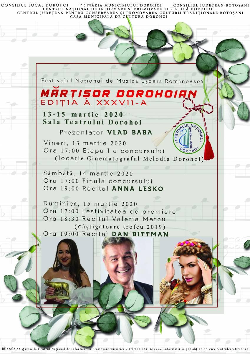 """Festivalul – Concurs Naţional de Muzică uşoară românească ,,Mărțișor Dorohoian"""", Ediţia a XXXVII-a, 13-15 martie 2020"""