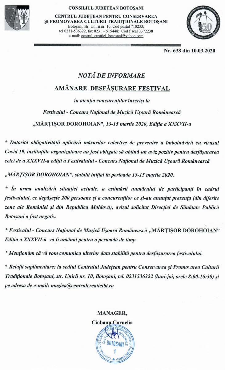 """NOTĂ DE INFORMARE – Amânare Festival """"Mărțișor Dorohoian"""", ediția a XXXVII-a, 13-15 martie 2020"""