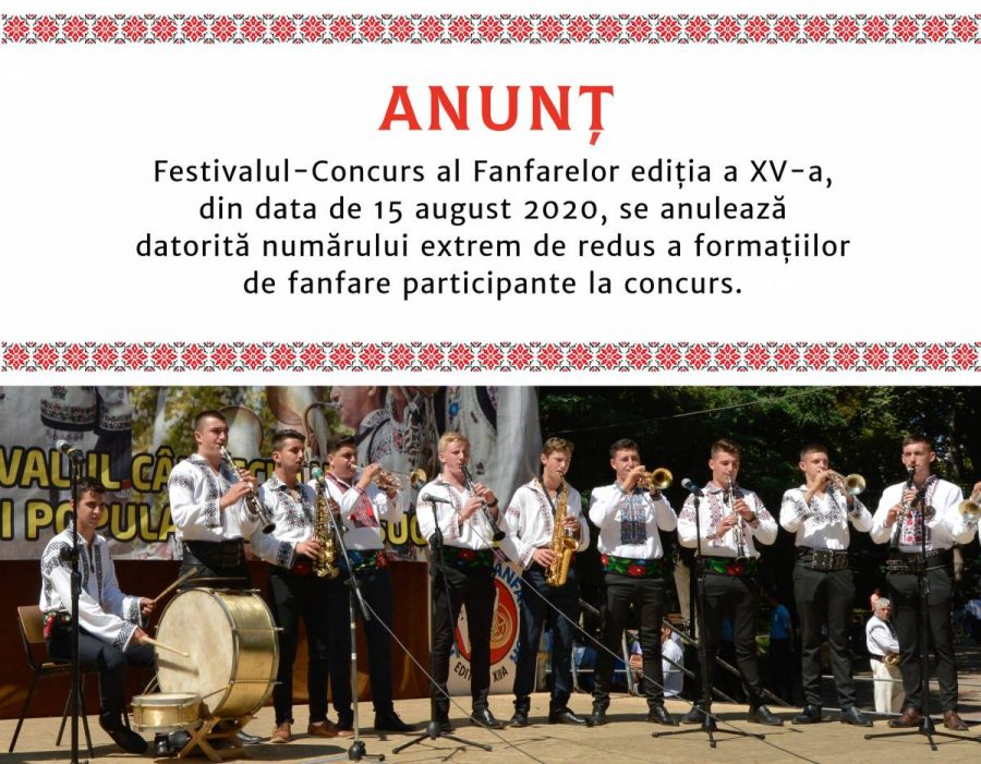 Anunț – Festivalul Fanfarelor – 15 august 2020